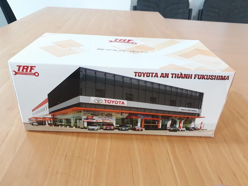 Hộp đựng khăn giấy in logo Toyota An Thành