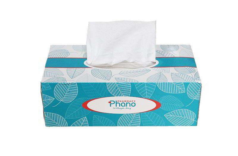Hộp khăn giấy in logo thương hiệu riêng Pharmacy Phano