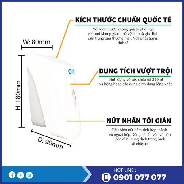 Kích thước và đặc điểm của bình đựng xà bông rt999-thegioigiayvn.com