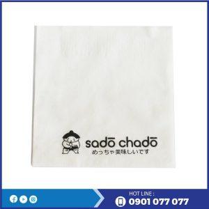 Khăn giấy in logo thương hiệu trà sửa sado chado-thegioigiayvn.com